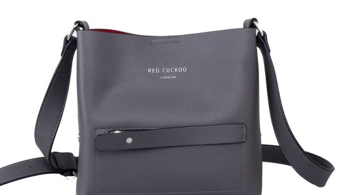 Red Cuckoo Grey Front Zipper Pocket Cross bag