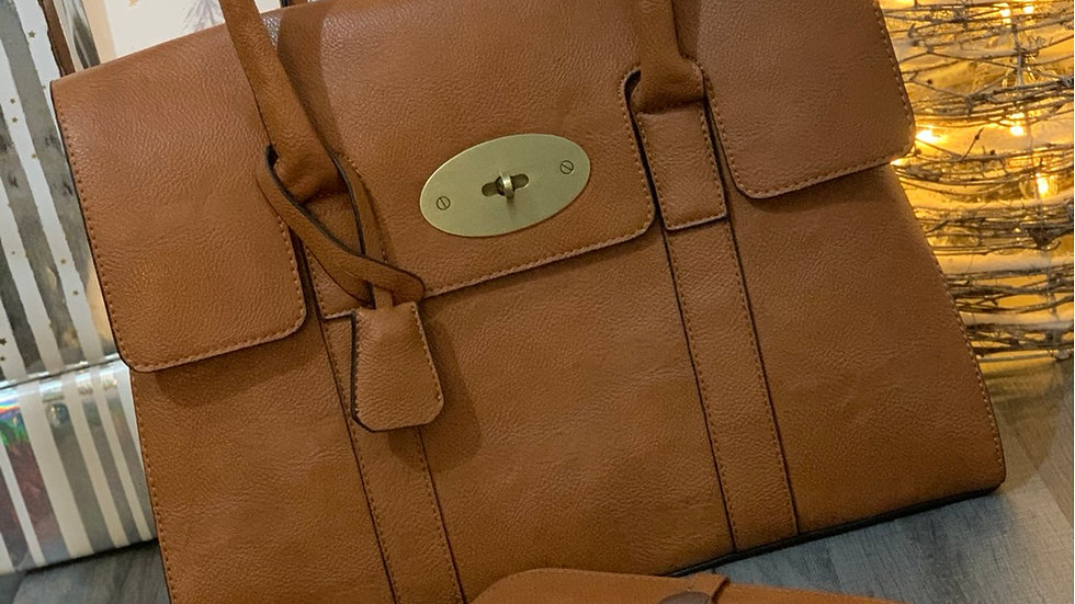Tan Inspired Tote Bag with Inspired Tan Purse