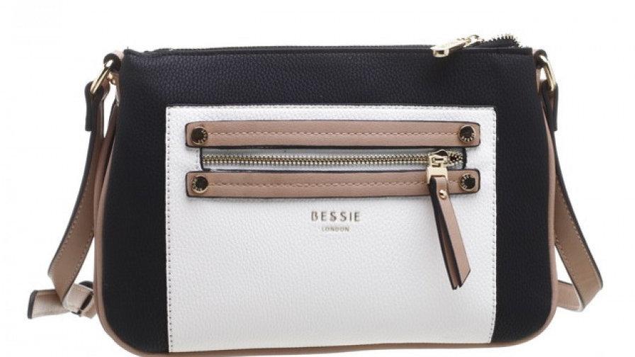 Bessie London Double Zip Pocket Three Tone Cross Body