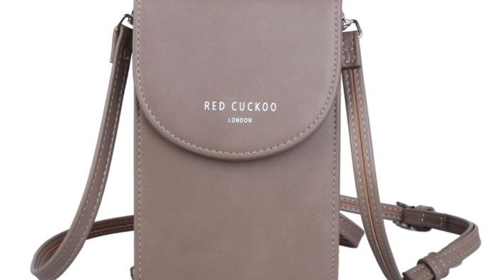 Red Cuckoo Taupe Cross Body Pouch