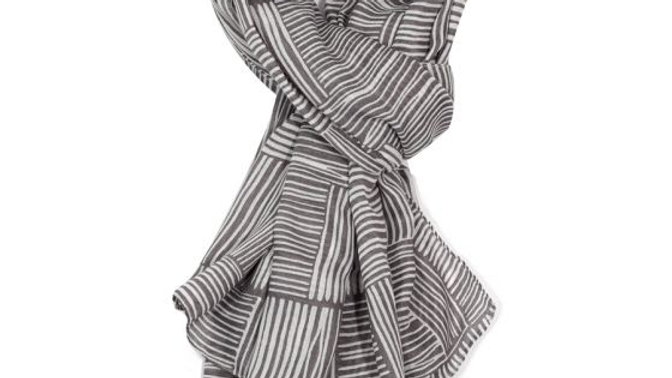 Grey with White Lines Scarf