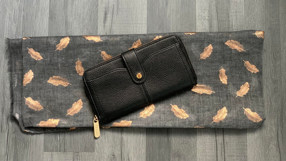 Bessie London Black Purse with Charcoal & Rose Gold Feather Scarf