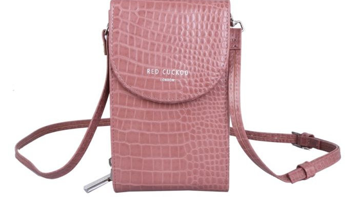 Red Cuckoo Pink Croc Effect Cross Body Pouch