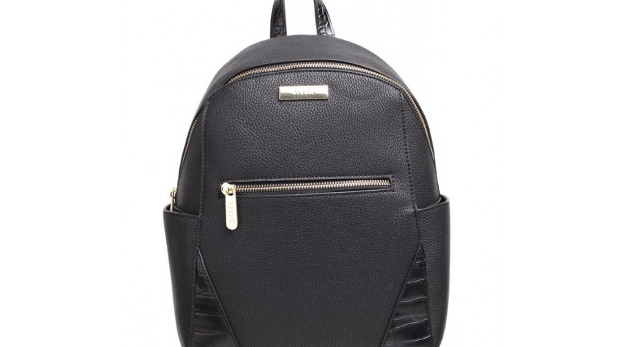 Bessie London Black Croc Print Backpack