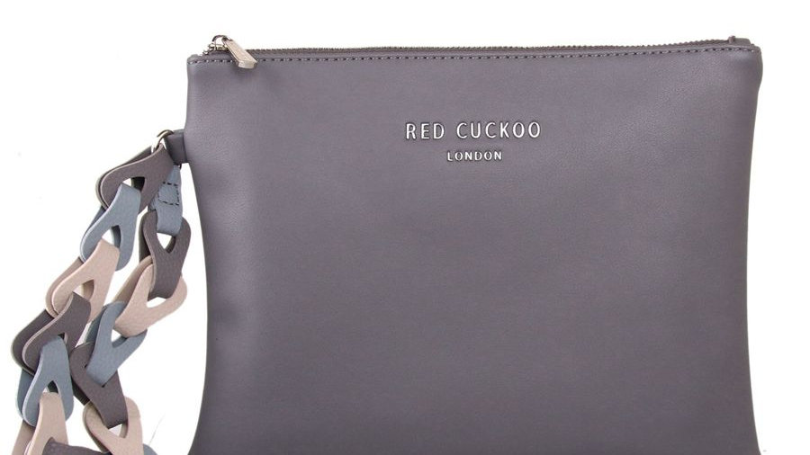 Red Cuckoo Grey Clutch with Contrast Wrist Strap