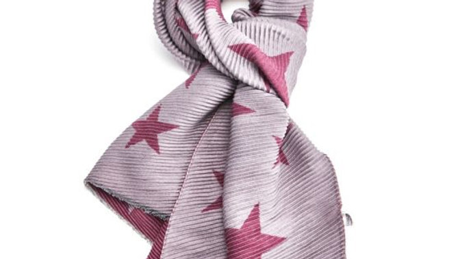Purple and Grey Pleated Star Scarf