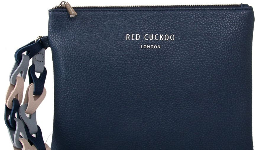 Red Cuckoo Blue Clutch with Contrast Wrist Strap