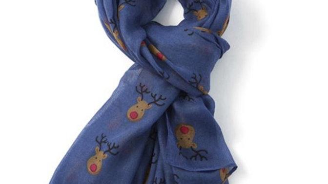 Blue Rudolph Face Scarf