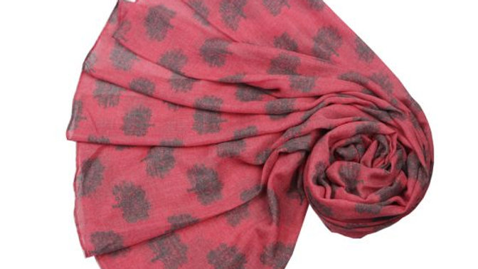 Pink and Grey Oak Trees Scarf