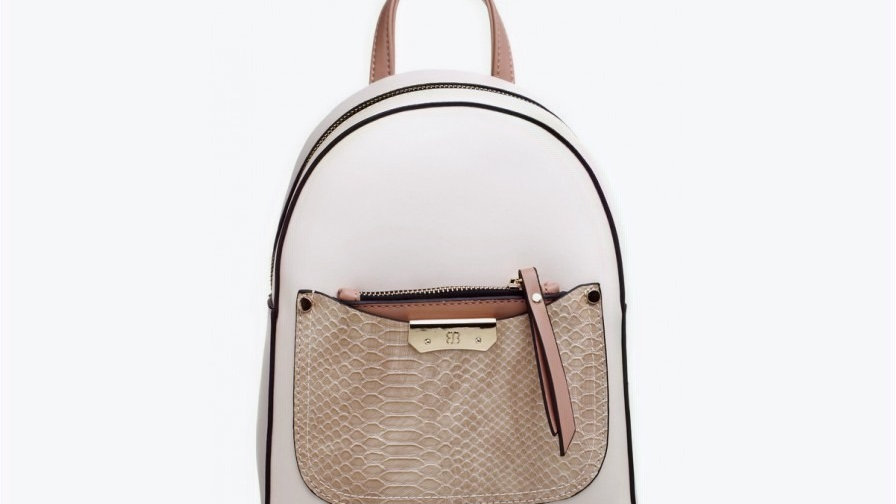 Bessie London Small Croc Print Front Pocket Backpack
