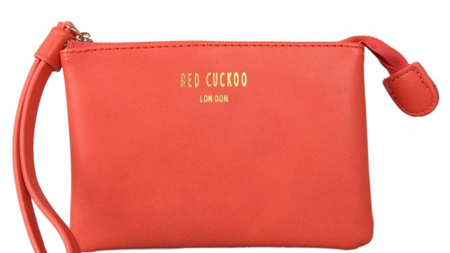 Red Cuckoo Coral Soft Touch Coin Purse