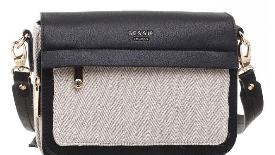 Bessie London Black Canvas Flap Over Shoulder Bag