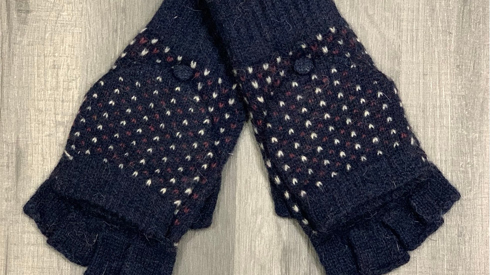 Navy with Purple & White Flecks Woollen Fingerless Gloves with Mitten Cover