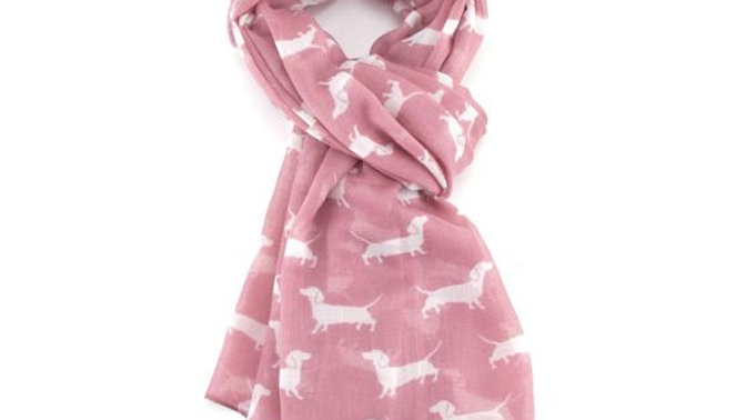 Pink Dachshund Scarf