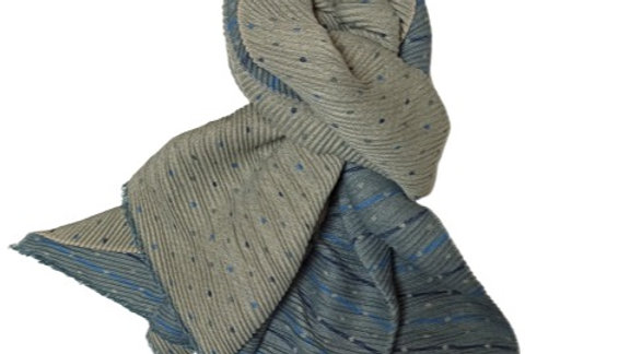 Blue & Beige Pleated Tiny Dots Scarf