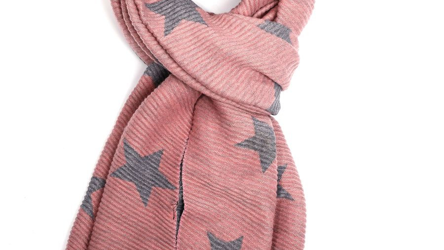 Pink & Grey Pleated Star Scarf