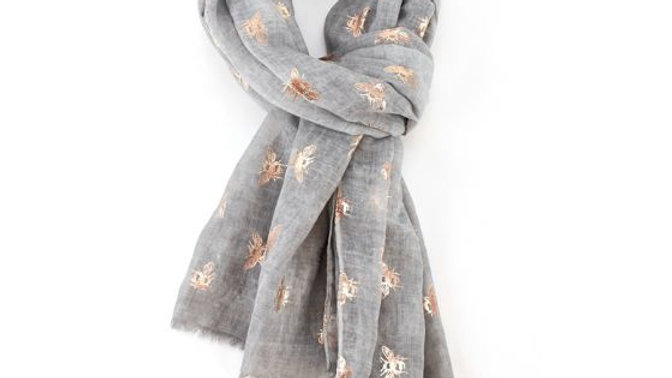 Grey & Rose Gold Bees Scarf