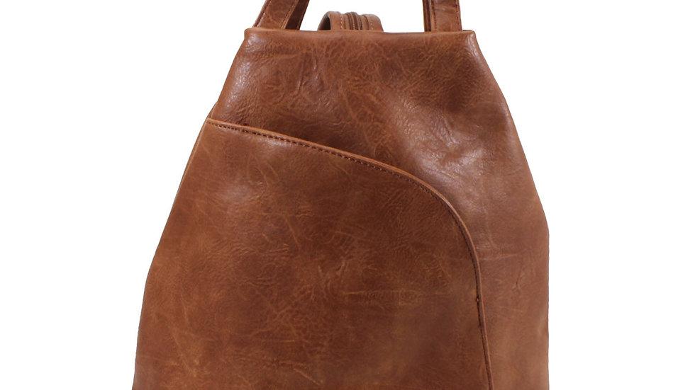 Tan Zipped Strap Backpack