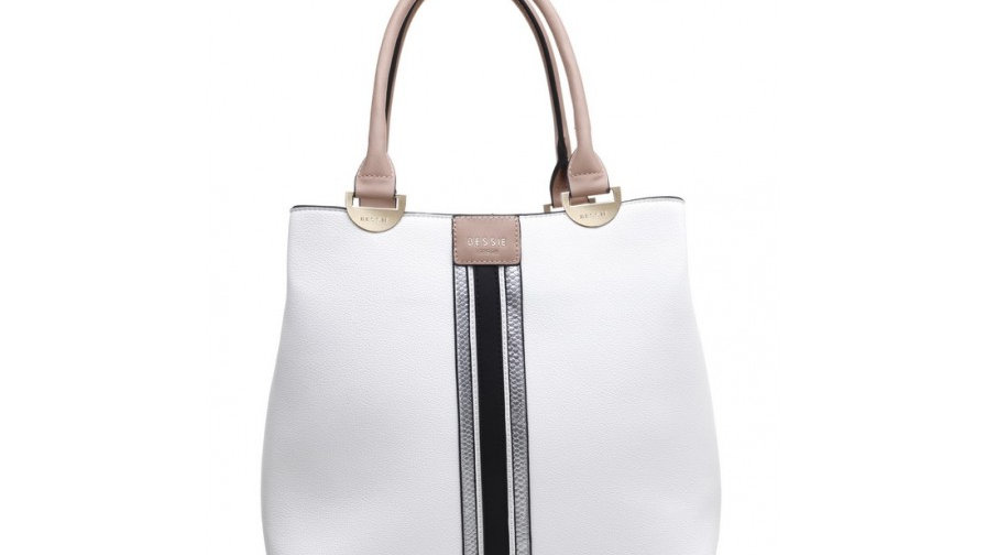 Bessie London White Multi Colour Tote