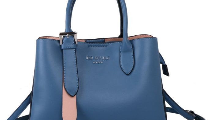 Red Cuckoo Blue Tote with Silver Buckle
