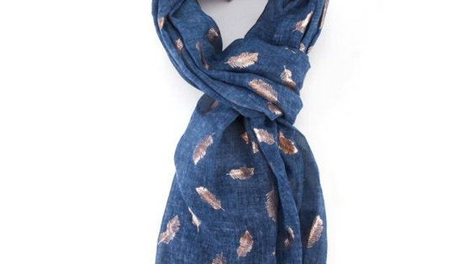 Dark Blue Rose Gold Feathers Scarf
