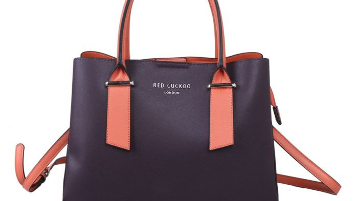 Red Cuckoo Purple Tote with Contrast Handles