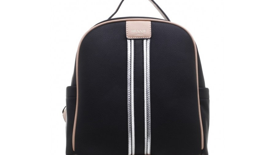 Bessie London Black Multi Colour Top Handle Backpack