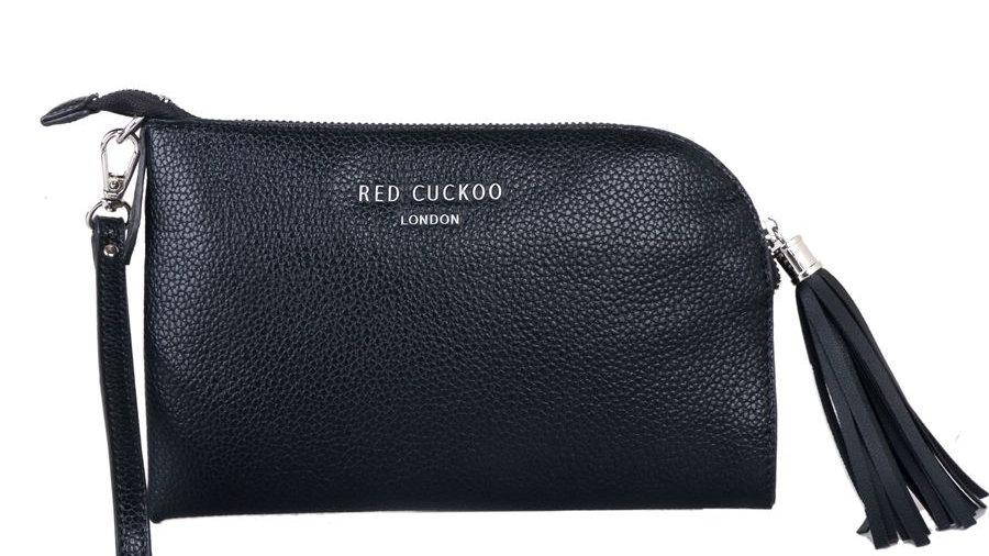 Red Cuckoo Black Tassel Zip Top Fastening Wristlet Purse