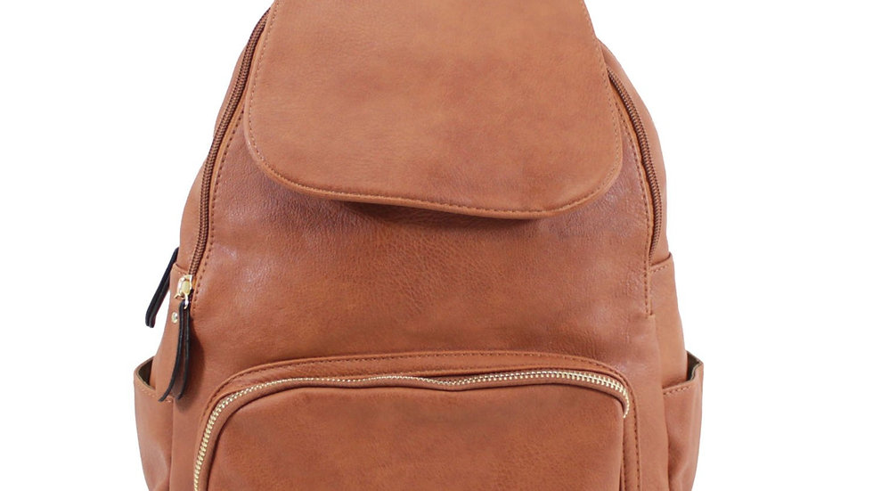 Tan Classic Flap Over Backpack