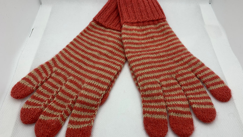 Coral Stripe Woollen Gloves