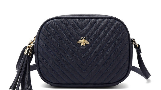 Navy Quilted Camera Style Bee Embellished Crossbody