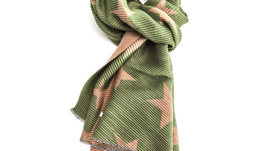 Green & Taupe Pleated Star Scarf