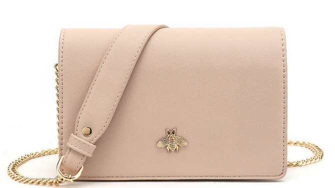 Nude Bee Embellished Chain Strap Crossbody