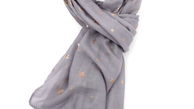 Grey with Rose Gold Stars Scarf