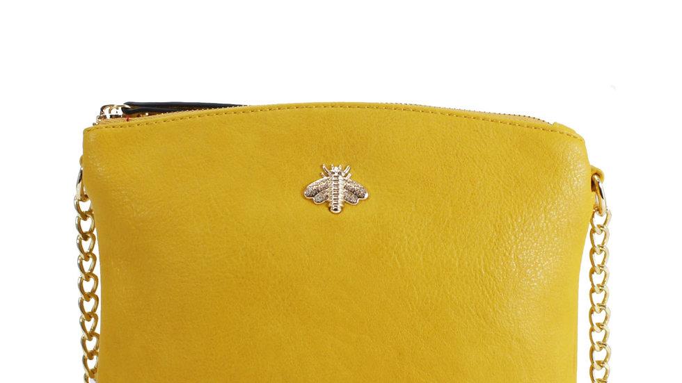 Bee Embellished Yellow Crossbody