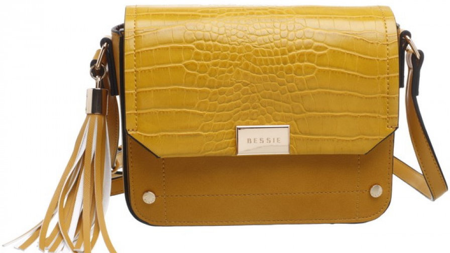 Bessie London Yellow Croc Flap-over Evening Bag