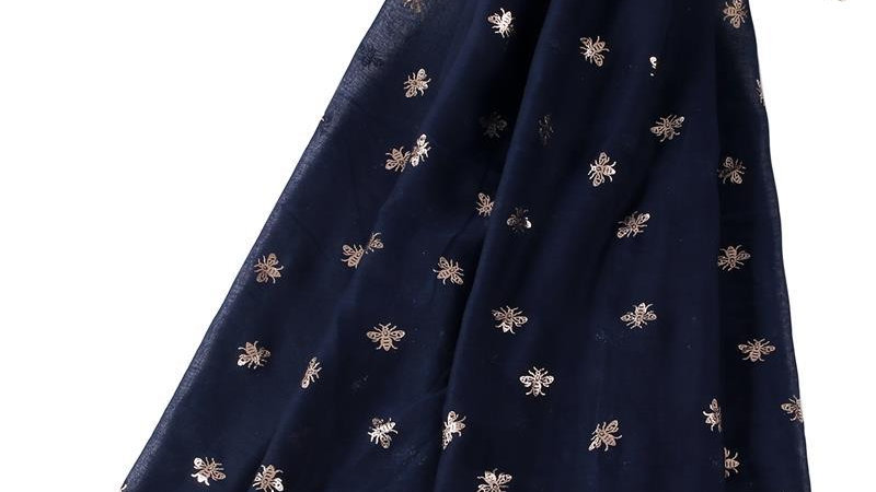 Navy & Rose Gold Bees Scarf