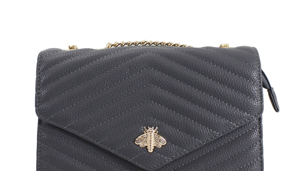 Grey Quilted Bee Embellished Crossbody with Chain Strap