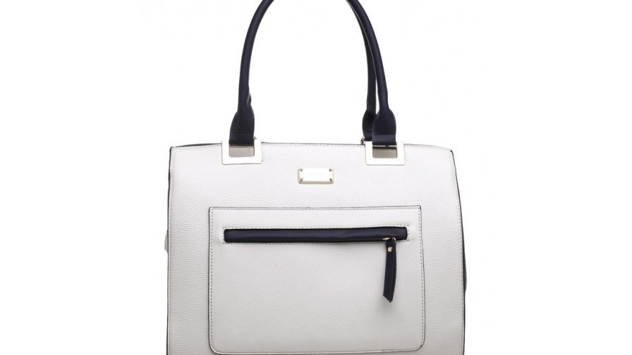 Bessie London White and Navy Two Tone Canvas Panel Tote