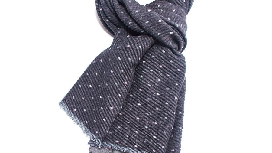 Light Grey and Black Pleated Tiny Dots Scarf