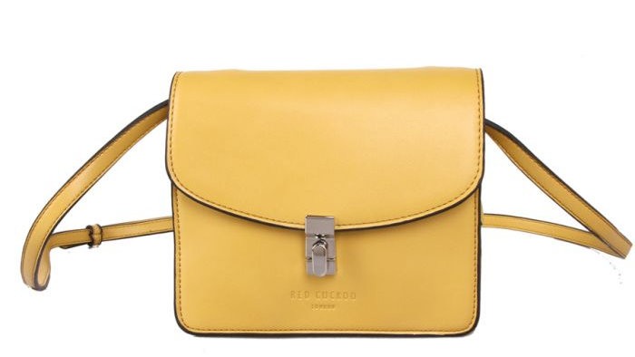 Red Cuckoo Yellow Cross Body Bag With Lock Fastening