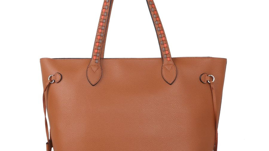 Red Cuckoo Tan Shopper Shoulder Bag with Weave Strap