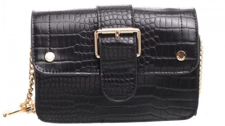 Bessie London Black Mini Croc Print Flap over Buckle Bag