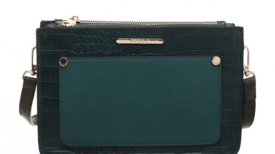 Bessie London Green Croc Print Multi Compartment Crossbody