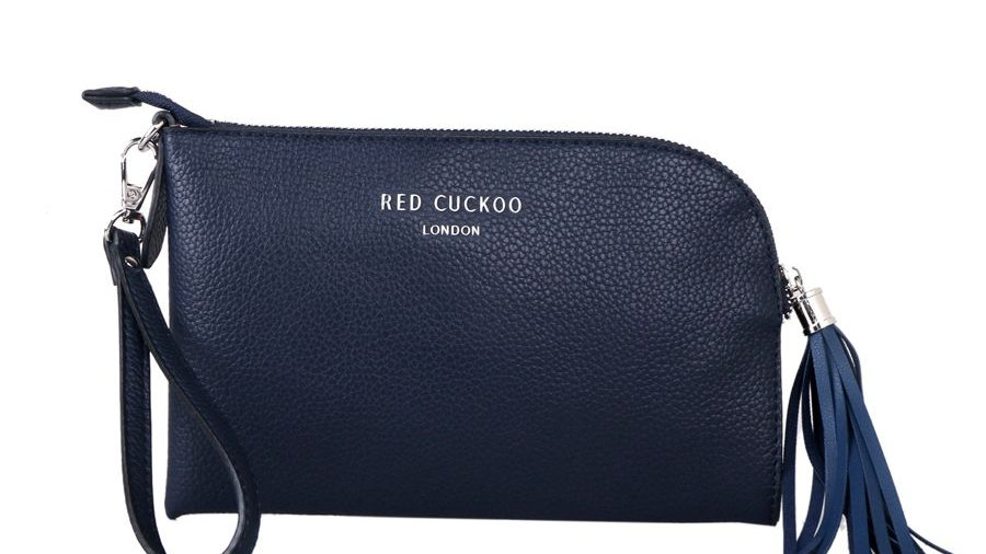 Red Cuckoo Navy Tassel Zip Top Fastening Wristlet Purse