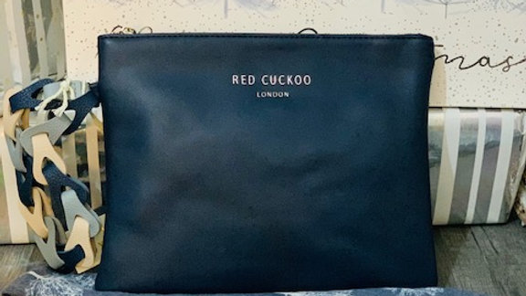 Navy Red Cuckoo Make up/Clutch Bag with Blue Tree Print Scarf