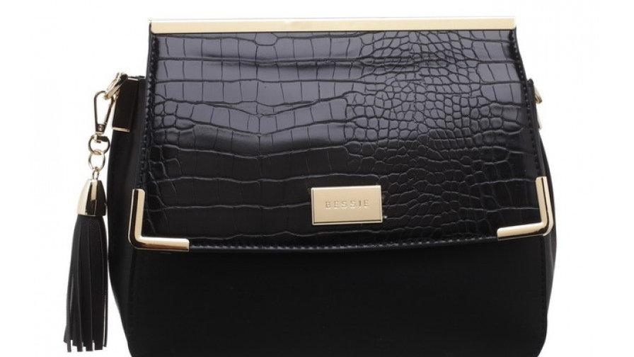 Bessie London Black Croc Flap Over Tassel Bag