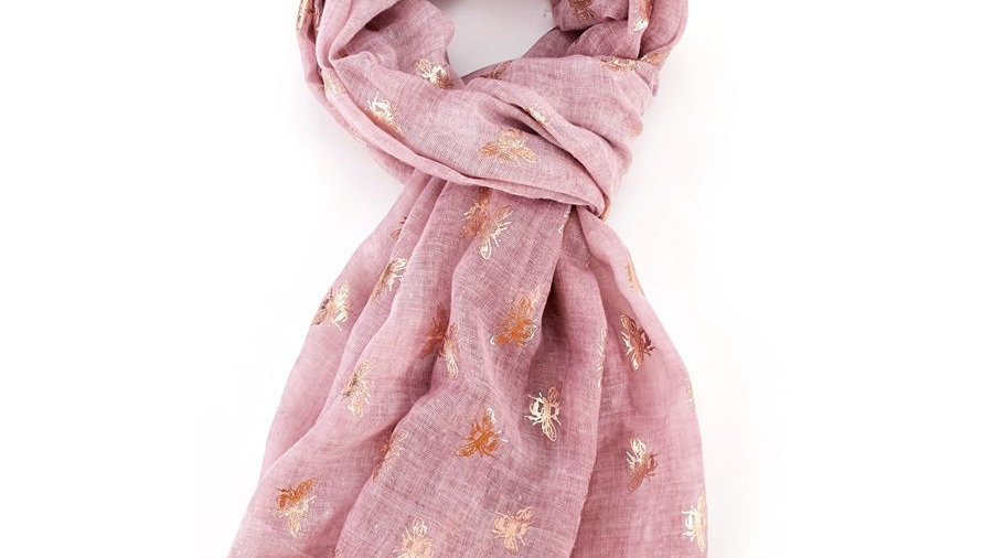 Pink & Rose Gold Bees Scarf