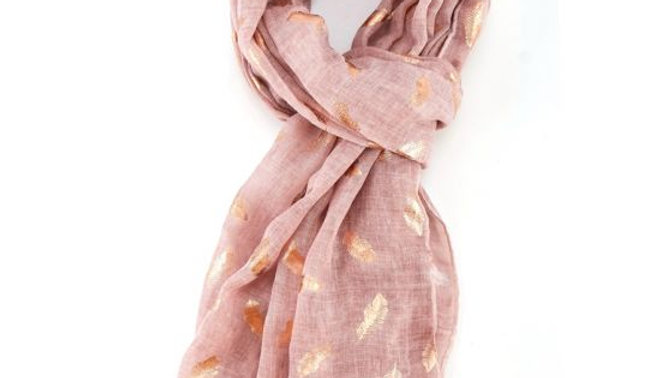 Pink & Rose Gold Feathers Scarf