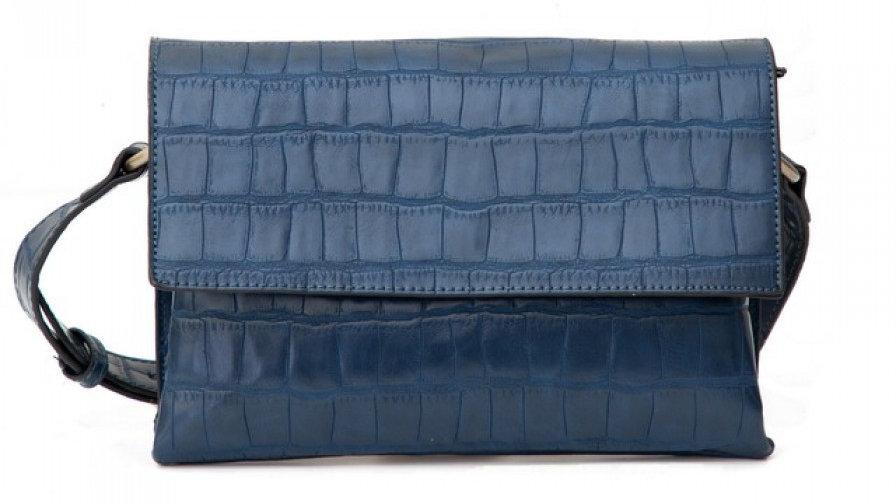 Bessie London Blue Croc Effect Bag